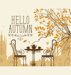 Autumn urban scape with furniture street cafe vector