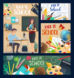 Back to school posters with student and teacher vector