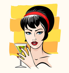 beautiful girl with cocktail vector image