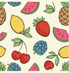 beautiful seamless pattern with cute doodle vector image