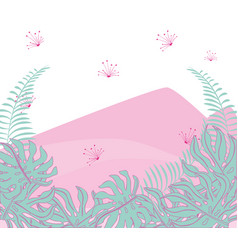 beauty mountain with exotic flowers and branches vector image