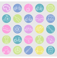 Bicycle icon set Bike types linear thin de vector image