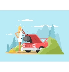 Blonde and broken car vector