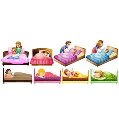 Boys and girls in bed vector image