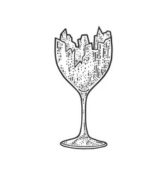 Broken wine glass sketch vector