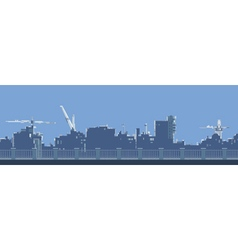 Cartoon general view of the city behind a fence vector