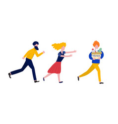 Chasing trends concept with people running men vector