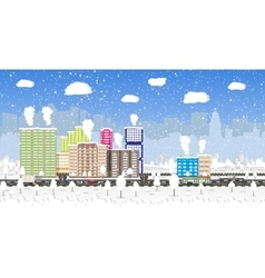Christmas and new year winter urban cityscape vector image
