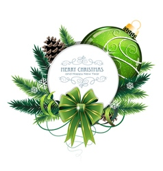 Christmas card with green bauble vector