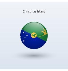 Christmas island round flag vector