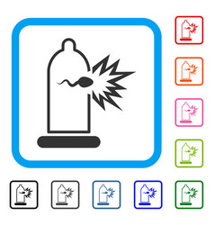 Condom sperm escape framed icon vector
