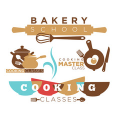 cooking school and culinary class logotype with vector image