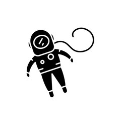 cosmonaut black icon sign on isolated vector image