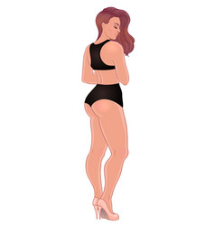 Curvy caucasian girl in casual wear and high heels vector