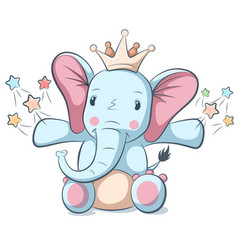 Cute funny elephant character for vector