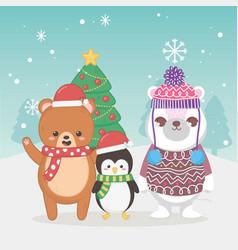 cute polar bear teddy and penguin tree snowflakes vector image