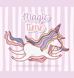 cute unicorn flying with hairstyle and horn vector image
