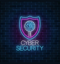 Cyber security glowing neon sign internet vector