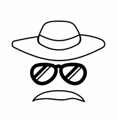 Detective incognito icon outline style vector
