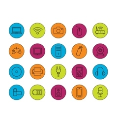 Digital devices linear icons set vector image