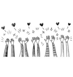 Doodle hands uphands clapping with love concept vector