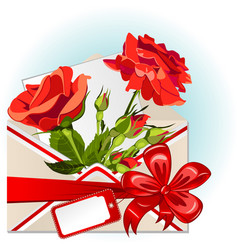 envelope with roses vector image