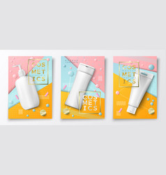 Eps 3d realistic cosmetic bottles posters vector