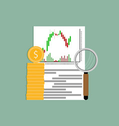 exchange analysis financial candlestick chart vector image
