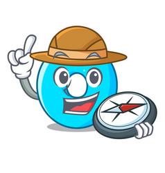 Explorer cartoon number zero color blue vector