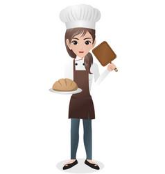 Female baker holding loaf vector