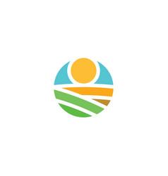 field farm logo landscape icon element vector image