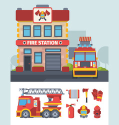 firefighter department set specialized fire vector image