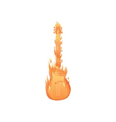Flaming guitar icon vector image