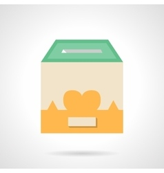 Flat color container for donations icon vector image