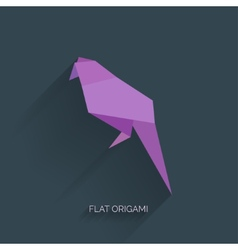 Flatr origami paper bird on abstract background vector