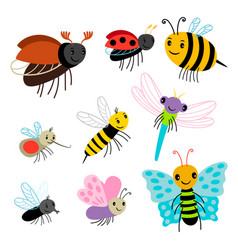 flying insects collection - cartoon bee vector image
