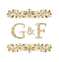 G and f vintage initials logo symbol vector