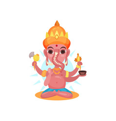 ganesha indian god of wisdom and wealth cartoon vector image