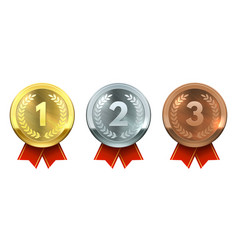 gold silver and bronze medals realistic metal vector image