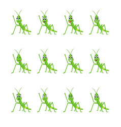 Grasshopper with different facial expressions vector