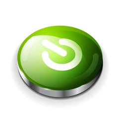 green glossy power button icon vector image