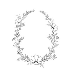 Hand drawn floral oval frame wreath on white vector