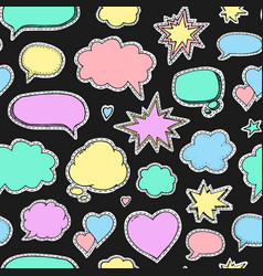 Hand drawn set of speech bubbles seamless vector