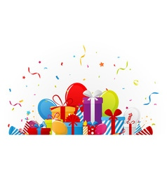 Happy birthday celebration with ribbon vector