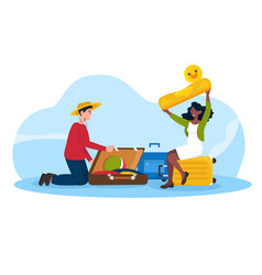 happy male and female characters packing luggage vector image