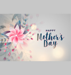 happy mothers day flower greeting background vector image
