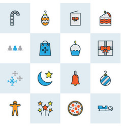 holiday icons colored line set with cupcake vector image