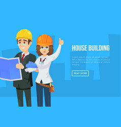 House building concept with architects vector