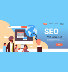 Indian couple monitoring using magnifier seo vector