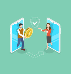 isometric flat concept pay online vector image